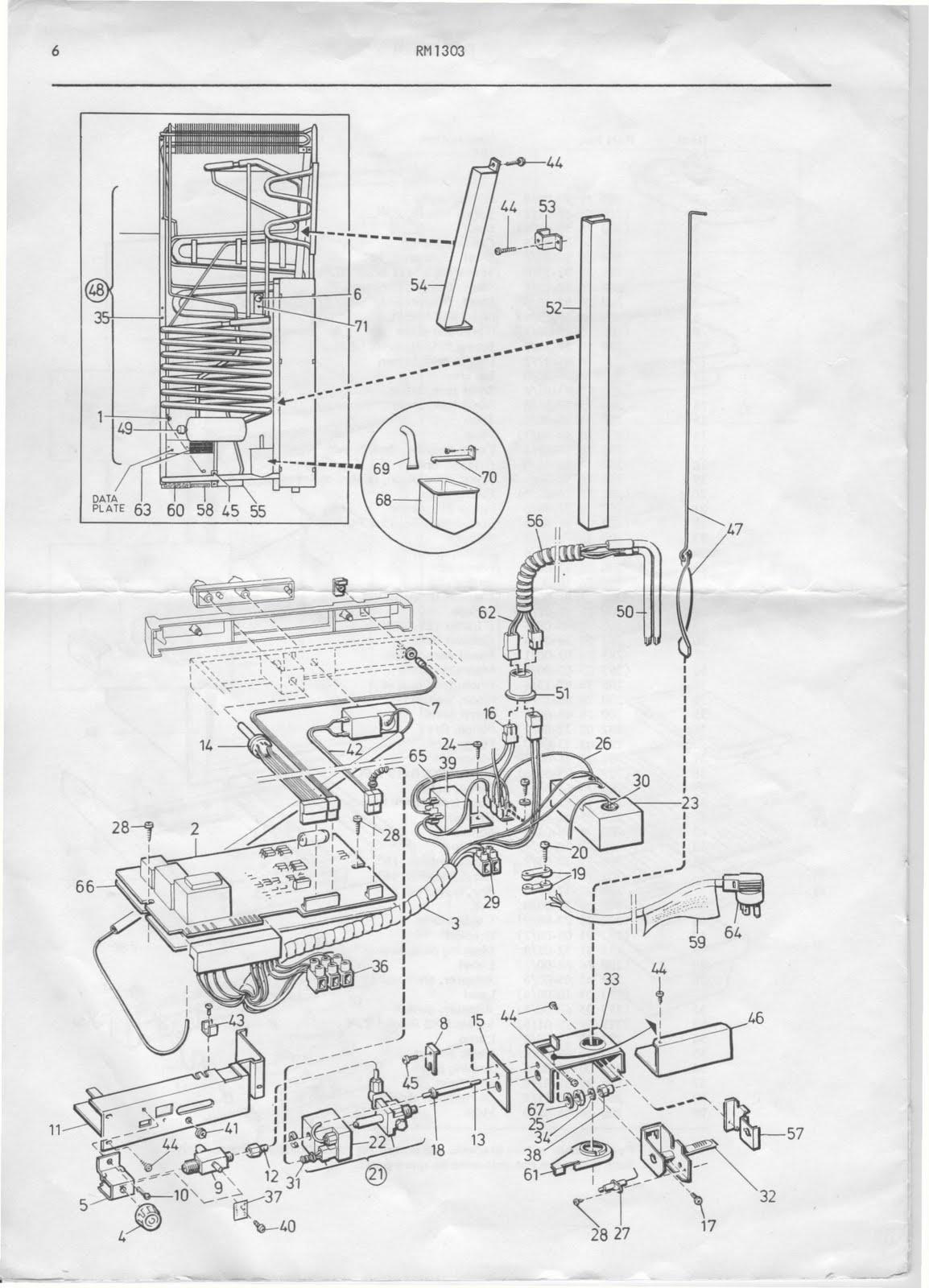 1983 Fleetwood Pace Arrow Owners Manuals: Dometic refridgerator RM 1303 parts manual